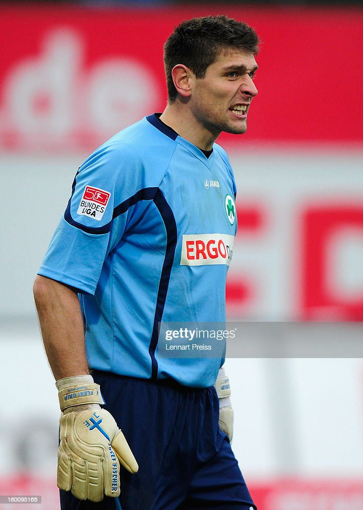 Wolfgang Hesl of Fuerth reacts during the Bundesliga match between SpVgg Greuther Fuerth and 1. FSV Mainz 05 at Trolli-Arena on January 26, 2013 in Fuerth, Germany.