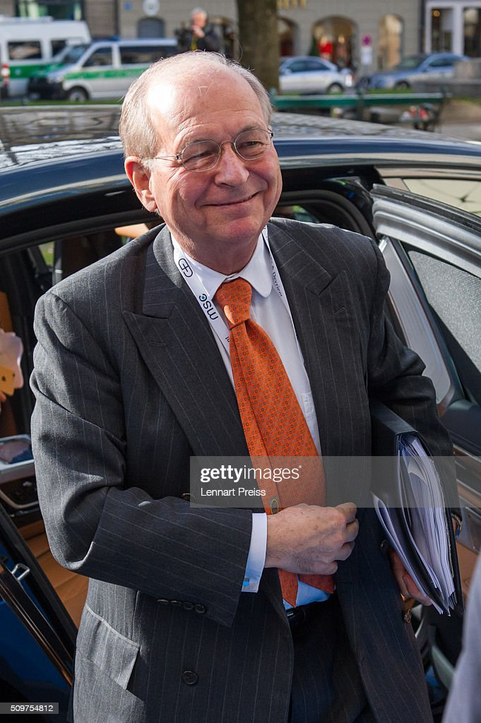 Wolfgang Ischinger, Chairman of the Munich Security Conference, arrives for the 2016 Munich Security Conference at the Bayerischer Hof hotel on February 12, 2016 in Munich, Germany. The annual event brings together government representatives and security experts from across the globe and this year the conflict in Syria will be the main issue under discussion.
