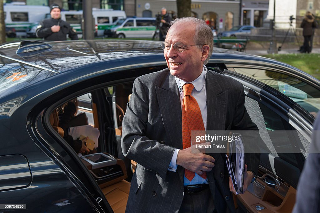 <a gi-track='captionPersonalityLinkClicked' href=/galleries/search?phrase=Wolfgang+Ischinger&family=editorial&specificpeople=2671154 ng-click='$event.stopPropagation()'>Wolfgang Ischinger</a>, Chairman of the Munich Security Conference, arrives for the 2016 Munich Security Conference at the Bayerischer Hof hotel on February 12, 2016 in Munich, Germany. The annual event brings together government representatives and security experts from across the globe and this year the conflict in Syria will be the main issue under discussion.