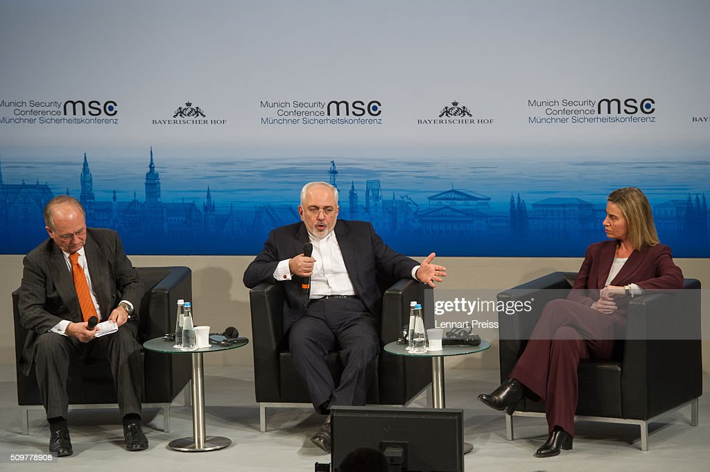 <a gi-track='captionPersonalityLinkClicked' href=/galleries/search?phrase=Wolfgang+Ischinger&family=editorial&specificpeople=2671154 ng-click='$event.stopPropagation()'>Wolfgang Ischinger</a> (L-R), Chairman of the Munich Security Conference, <a gi-track='captionPersonalityLinkClicked' href=/galleries/search?phrase=Mohammad+Javad+Zarif&family=editorial&specificpeople=645041 ng-click='$event.stopPropagation()'>Mohammad Javad Zarif</a>, Minister of Foreign Affairs of Iran, and <a gi-track='captionPersonalityLinkClicked' href=/galleries/search?phrase=Federica+Mogherini&family=editorial&specificpeople=7400570 ng-click='$event.stopPropagation()'>Federica Mogherini</a>, High Representative of the European Union for Foreign Affairs and Security Policy, speak at the 2016 Munich Security Conference at the Bayerischer Hof hotel on February 12, 2016 in Munich, Germany. The annual event brings together government representatives and security experts from across the globe and this year the conflict in Syria will be the main issue under discussion.