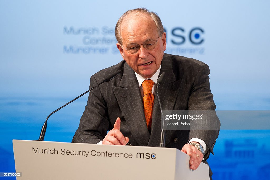 <a gi-track='captionPersonalityLinkClicked' href=/galleries/search?phrase=Wolfgang+Ischinger&family=editorial&specificpeople=2671154 ng-click='$event.stopPropagation()'>Wolfgang Ischinger</a>, Chairman of the Munich Security Conference speaks at the 2016 Munich Security Conference at the Bayerischer Hof hotel on February 12, 2016 in Munich, Germany. The annual event brings together government representatives and security experts from across the globe and this year the conflict in Syria will be the main issue under discussion.