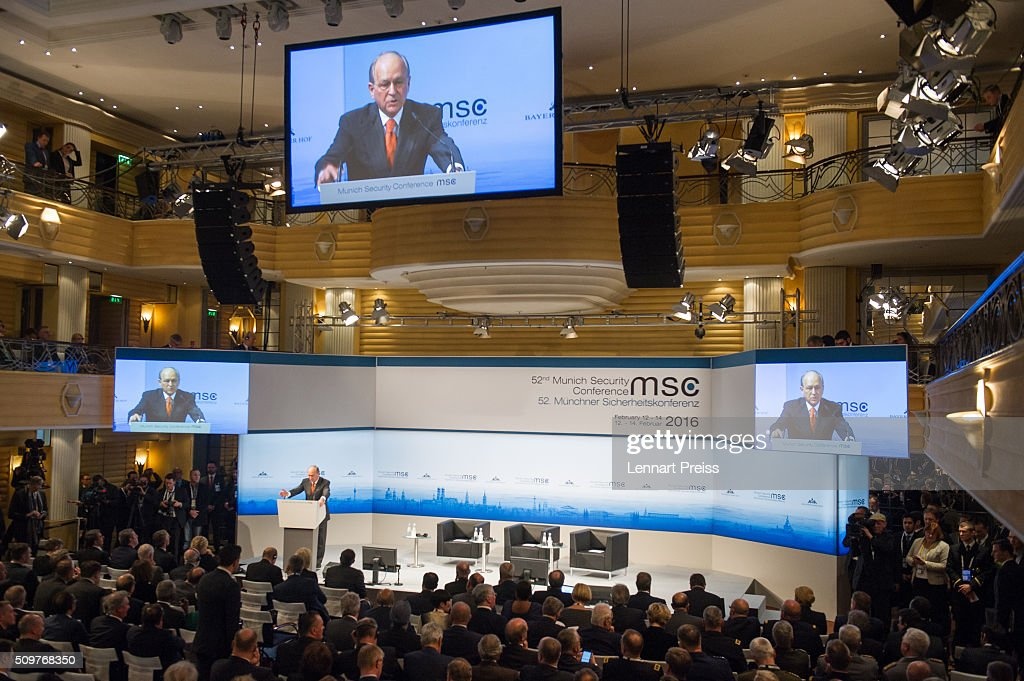 Wolfgang Ischinger, Chairman of the Munich Security Conference speaks at the 2016 Munich Security Conference at the Bayerischer Hof hotel on February 12, 2016 in Munich, Germany. The annual event brings together government representatives and security experts from across the globe and this year the conflict in Syria will be the main issue under discussion.