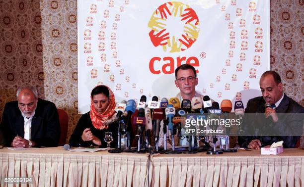 Wolfgang Jamann secretarygeneral and CEO of the antipoverty NGO CARE International gives a press conference in the Yemeni capital Sanaa on July 22...