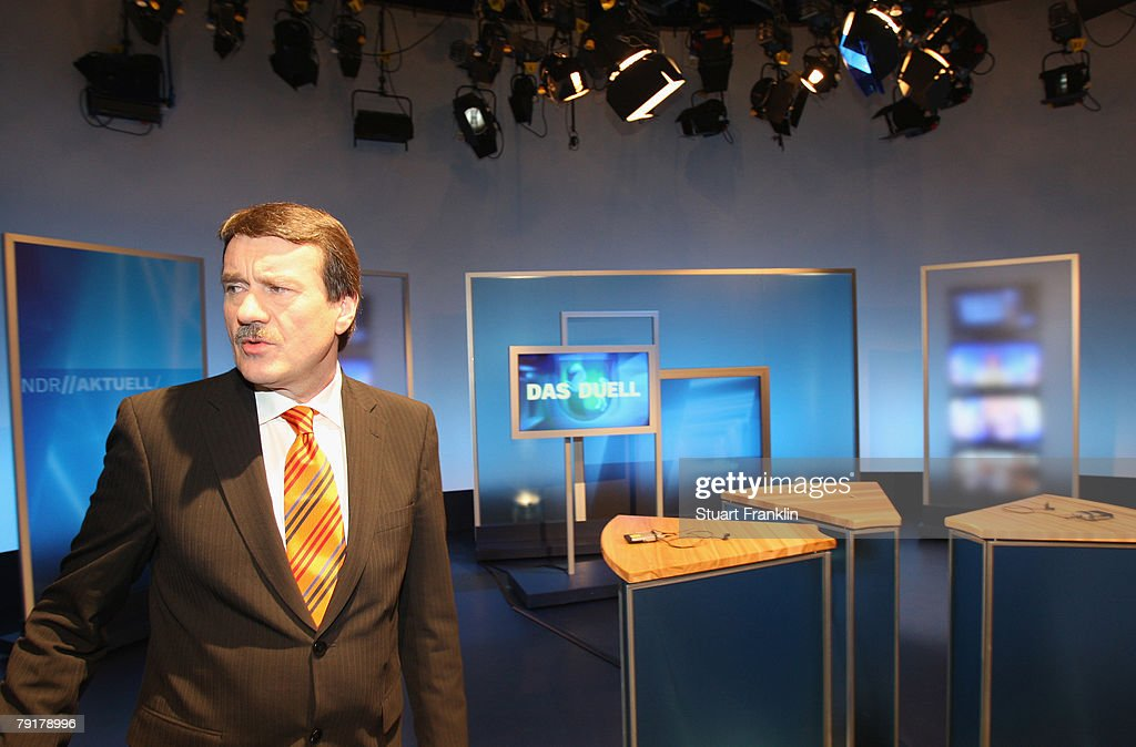 Wolfgang Juettner, candidate of the Social Democratic Party (SPD) attends a television debate with his challenger Christian Wulff, candidate of the Christian Democratic Union (CDU) and Governor of Lower Saxony at the NDR television studios on January 23, 2008 in Hanover, Germany. Lower Saxony faces state elections on January 27, 2008.