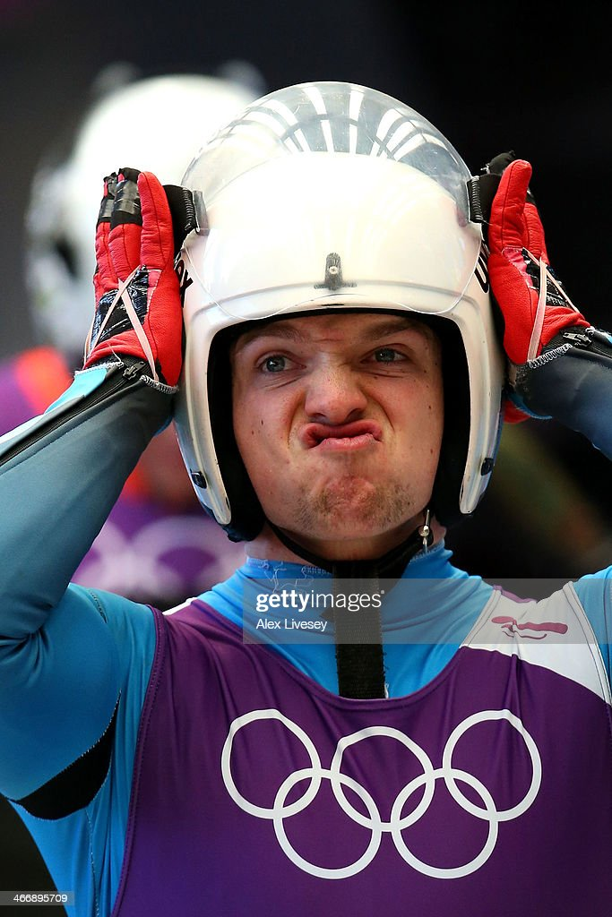 Wolfgang Kindl of Austria adjusts his helmet during a men's luge training session ahead of the Sochi 2014 Winter Olympics at the Sanki Sliding Center on February 5, 2014 in Sochi, Russia.
