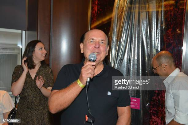 Wolfgang Kosmata unveils the Falco memorabilia during the 3rd birthday party of the Hard Rock Cafe Vienna on August 6 2017 in Vienna