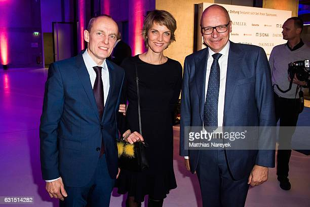 Wolfgang Krach Marietta Slomka and Stefan Hilscher attend the 12th Long Night of the Sueddeutsche Zeitung at Palazzo Italia on January 11 2017 in...