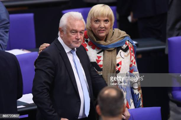 Wolfgang Kubicki of the German Free Democratic Party and Claudia Roth of the German Greens Party attend the opening session of the new Bundestag on...