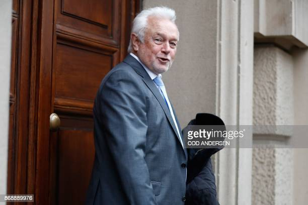 Wolfgang Kubicki vicechairman of Germany's free democratic FDP party arrives for exploratory talks with members of possible coalition parties to form...