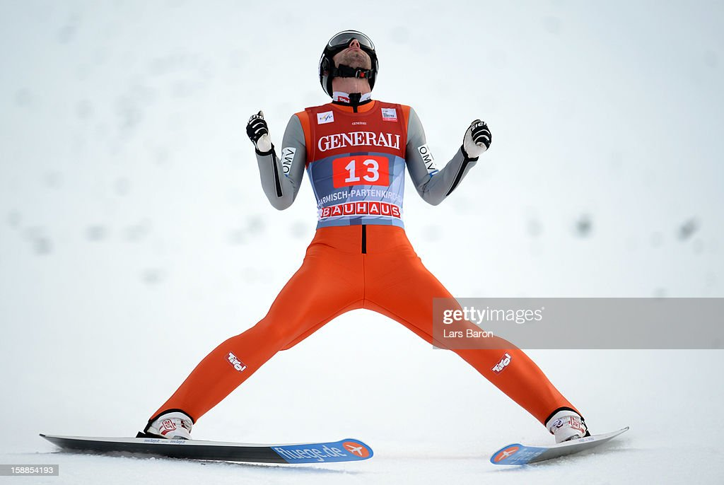 <a gi-track='captionPersonalityLinkClicked' href=/galleries/search?phrase=Wolfgang+Loitzl&family=editorial&specificpeople=2139272 ng-click='$event.stopPropagation()'>Wolfgang Loitzl</a> of Austria looks dejected during the final round first leg of the FIS Ski Jumping World Cup event at the 61st Four Hills ski jumping tournament at Olympiaschanze on January 1, 2013 in Garmisch-Partenkirchen, Germany.
