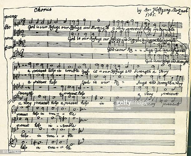 Wolfgang Mozart's manuscript of his first effort in choral writing the only one composed on an English text given to the British Museum Composed July...