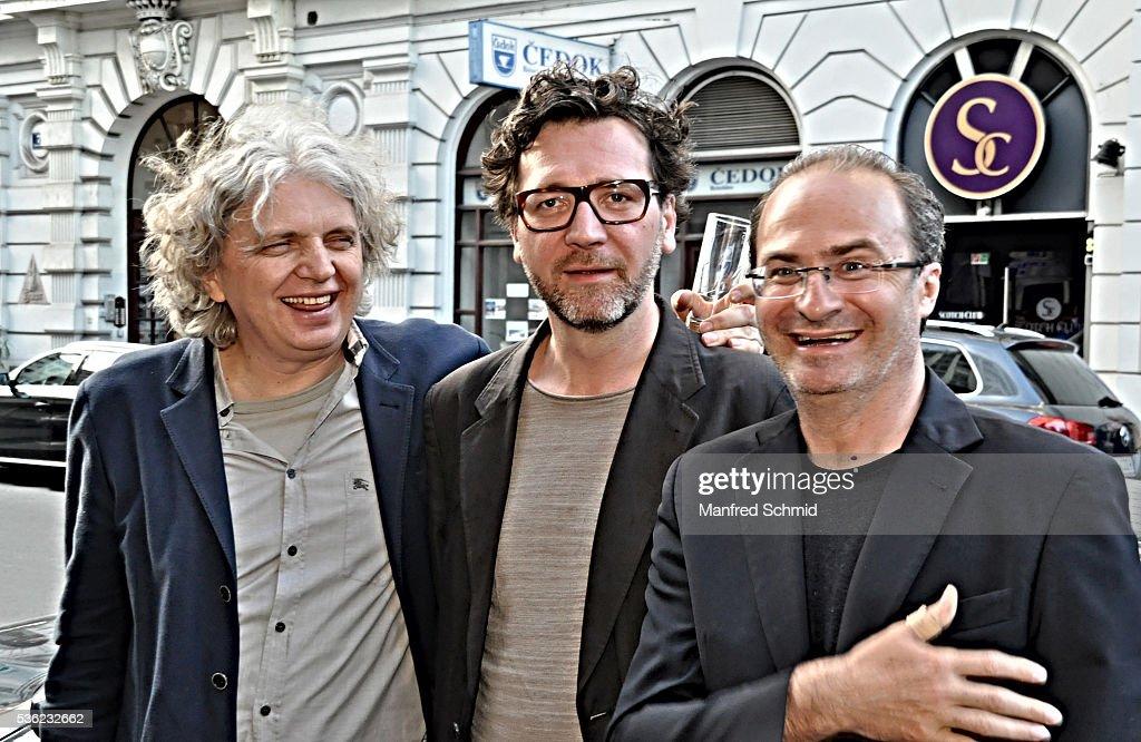 Wolfgang Murnberger, David Schalko and Georg Hoanzl (L-R) attend the 'Vor der Morgenroete' Vienna Premiere at Gartenbau Kino Vienna on May 31, 2016 in Vienna, Austria.