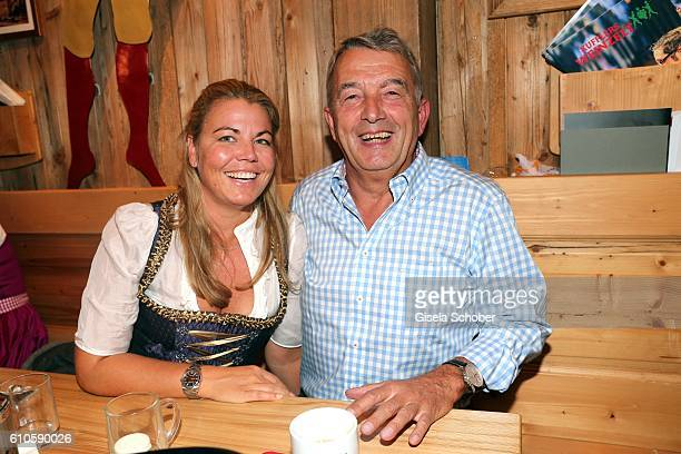 Wolfgang Niersbach and his girlfriend Marion Popp during the Oktoberfest at Weinzelt / Theresienwiese on September 26 2016 in Munich Germany