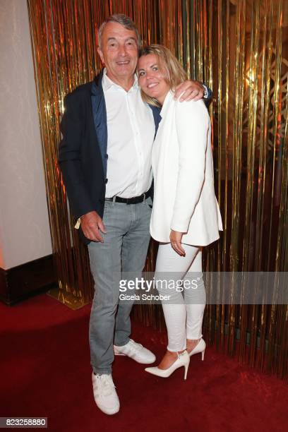 Wolfgang Niersbach and his girlfriend Marion Popp during the Hotel Vier Jahreszeiten summer party 'Eclat Dore' on July 26 2017 in Munich Germany
