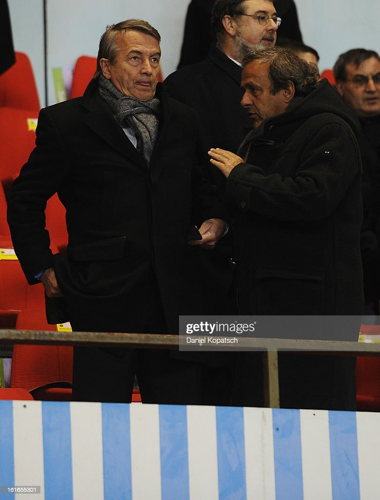 Wolfgang Niersbach and Michel Platini look on prior the international friendly match between France and Germany at Stade de la Meinau on February 13, 2013 in Strasbourg, France.