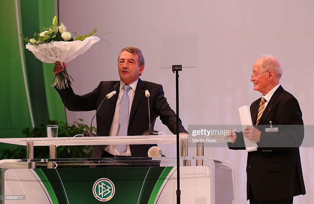 Wolfgang Niersbach is re-elected as DFB president during the DFB Bundestag at NCC Nuremberg on October 25, 2013 in Nuremberg, Germany.