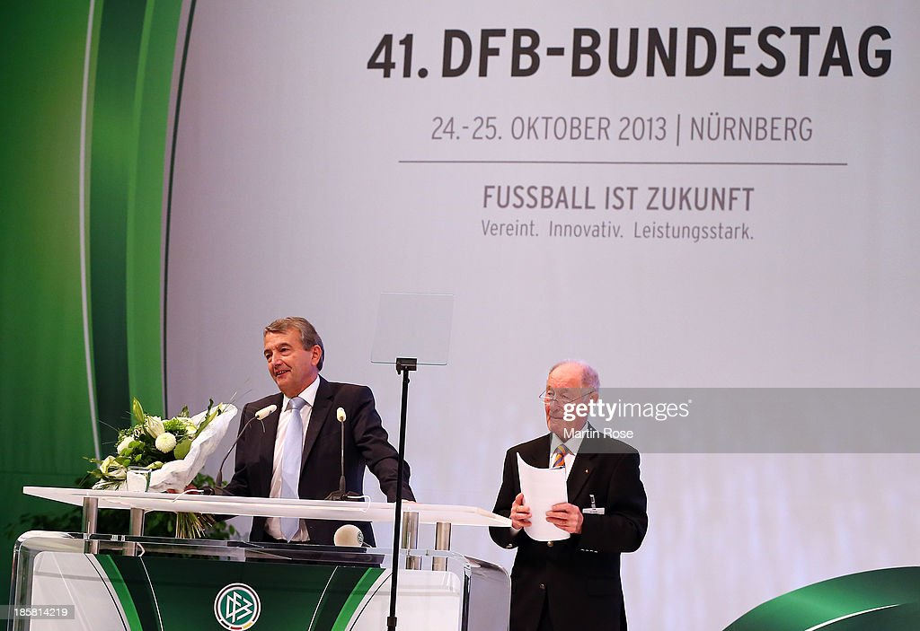 <a gi-track='captionPersonalityLinkClicked' href=/galleries/search?phrase=Wolfgang+Niersbach&family=editorial&specificpeople=555796 ng-click='$event.stopPropagation()'>Wolfgang Niersbach</a> is re-elected as DFB president during the DFB Bundestag at NCC Nuremberg on October 25, 2013 in Nuremberg, Germany.