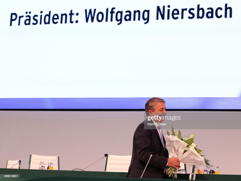 <a gi-track='captionPersonalityLinkClicked' href=/galleries/search?phrase=Wolfgang+Niersbach&family=editorial&specificpeople=555796 ng-click='$event.stopPropagation()'>Wolfgang Niersbach</a> is seen after his reelection as DFB president during the DFB Bundestag at NCC Nuremberg on October 25, 2013 in Nuremberg, Germany.