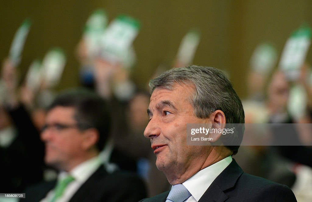 <a gi-track='captionPersonalityLinkClicked' href=/galleries/search?phrase=Wolfgang+Niersbach&family=editorial&specificpeople=555796 ng-click='$event.stopPropagation()'>Wolfgang Niersbach</a> is seen during the election of the DFB president during the DFB Bundestag at NCC Nuremberg on October 25, 2013 in Nuremberg, Germany.