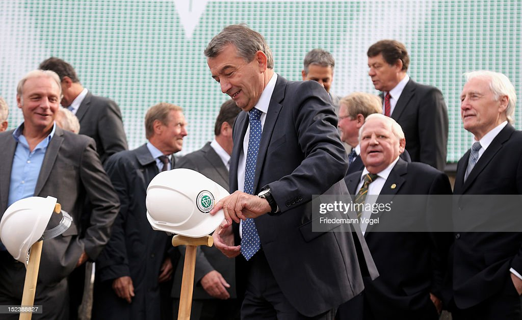 <a gi-track='captionPersonalityLinkClicked' href=/galleries/search?phrase=Wolfgang+Niersbach&family=editorial&specificpeople=555796 ng-click='$event.stopPropagation()'>Wolfgang Niersbach</a>, president of Deutsche Fussball Bund DFB poses during the ground breaking ceremony for the DFB Football museum on September 20, 2012 in Dortmund, Germany.