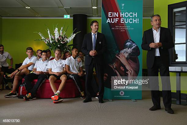 Wolfgang Niersbach president of the DFB talks to the team and national coach Marcus Sorg during the arrival of the U19 team of Germany at Frankfurt...
