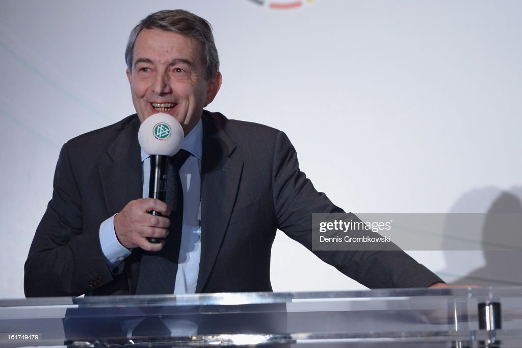 <a gi-track='captionPersonalityLinkClicked' href=/galleries/search?phrase=Wolfgang+Niersbach&family=editorial&specificpeople=555796 ng-click='$event.stopPropagation()'>Wolfgang Niersbach</a> reacts during the Coaching and Technichal Development Course Awarding Ceremony on March 27, 2013 in Bonn, Germany.