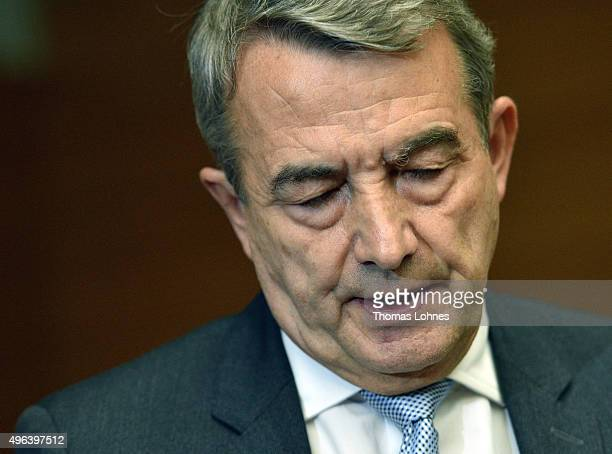 Wolfgang Niersbach speaks to the press announcing his retirement with immediate effect from his position as DFB president at DFB headquarters on...