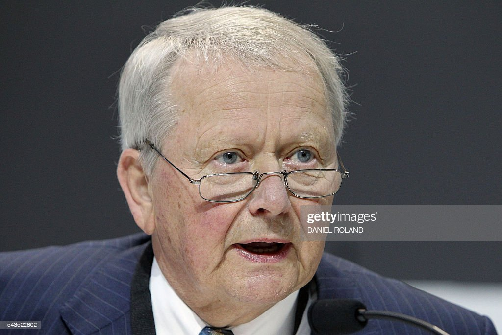 Wolfgang Porsche, chairman of the board of German company Porsche SE is pictured during the company's annual shareholder meeting in Stuttgart, Germany, on June 29, 2016. / AFP / DANIEL