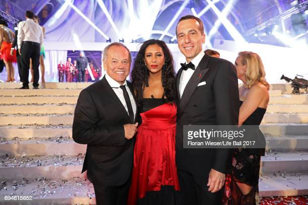 Wolfgang Puck Gelila Puck and Austrian chancellor Christian Kern are seen after the Life Ball 2017 after show party at Volksgarten on June 10 2017 in...