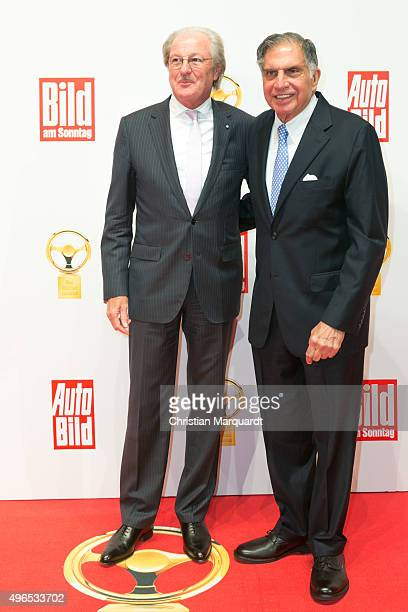 Wolfgang Reitzle and Ratan Tata attend the red carpet during the 'Goldenes Lenkrad' Award 2015 at Axel Springer Haus on November 10 2015 in Berlin...