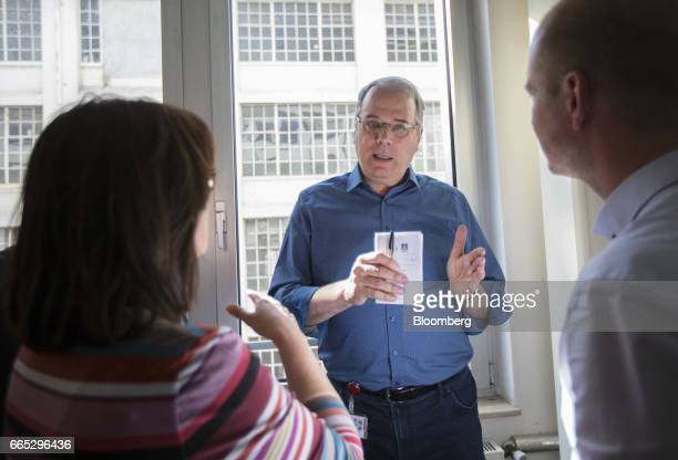 Wolfgang SchaeferKlug chairman of the work council at Adam Opel AG speaks to journalists after a news conference in Ruesselheim Germany on Thursday...