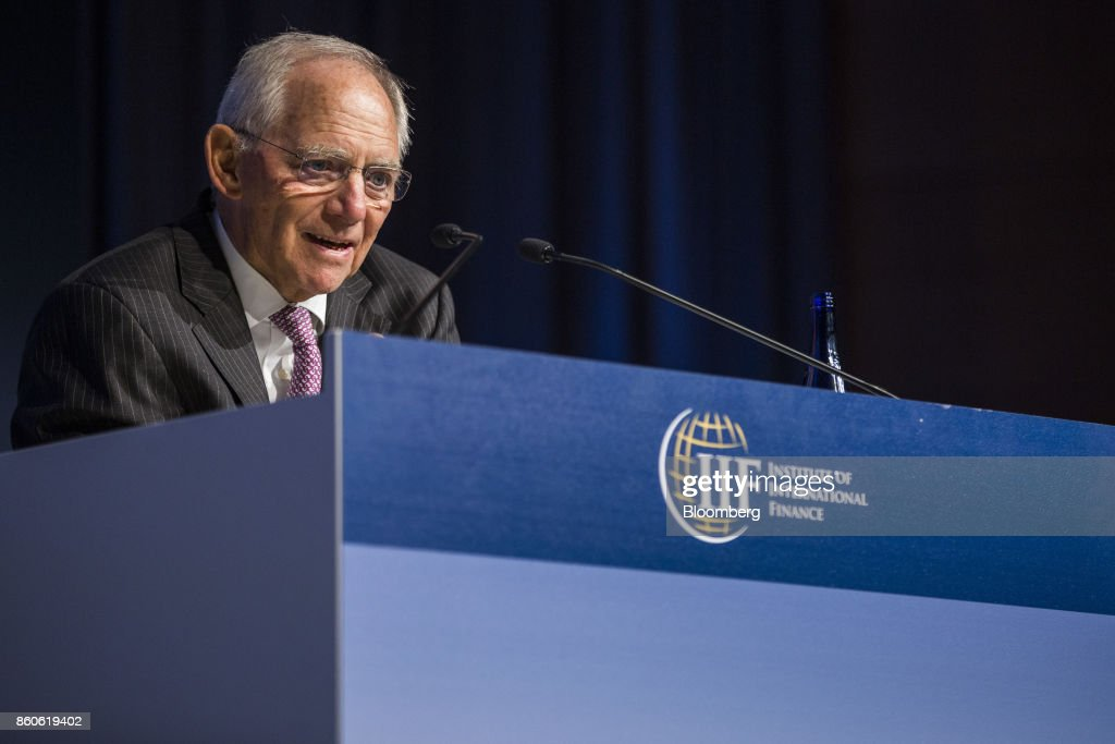 Wolfgang Schaeuble, German's Finance Minister, speaks during the Institute of International Finance (IIF) annual membership meeting in Washington, D.C., U.S., on Thursday, Oct. 12, 2017. Schaeuble said the new government will stay on its existing course and will be pro-European. Photographer: Zach Gibson/Bloomberg via Getty Images