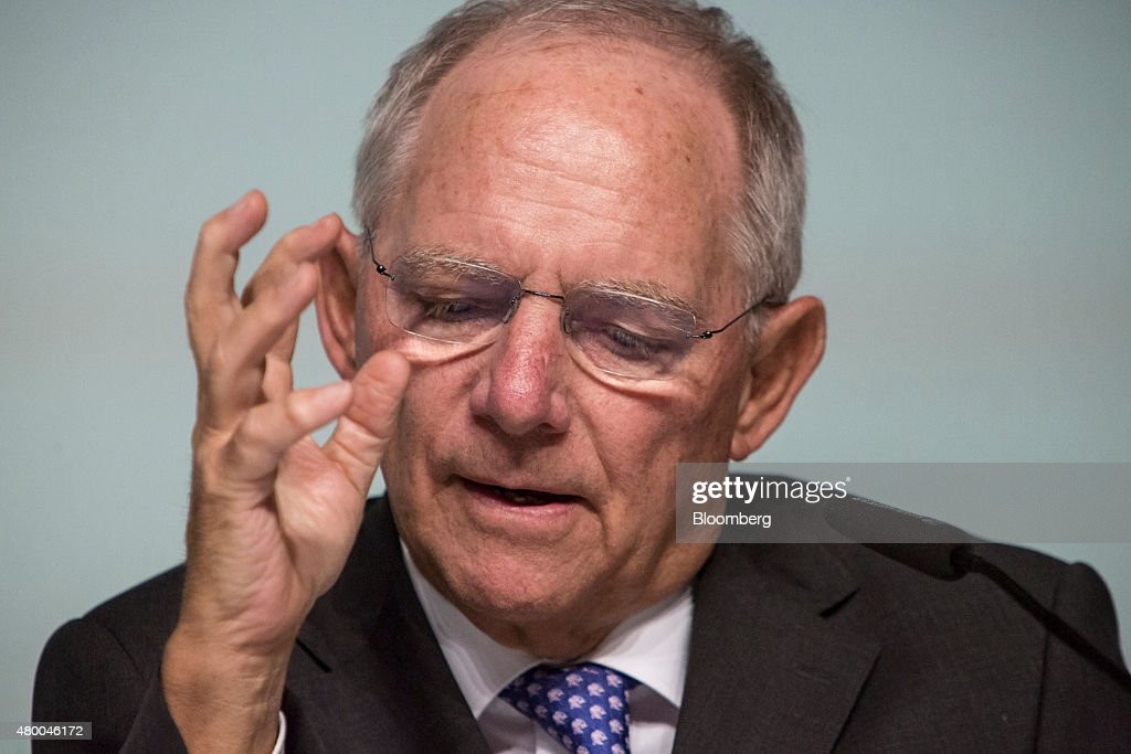 Wolfgang Schaeuble, Germany's finance minister, gestures as he addresses a Deutsche Bundesbank conference in Frankfurt, Germany, on Thursday, July 9, 2015. Schaeuble says he told Greece 'just do it' with regard to outlining latest aid proposals. Photographer: Martin Leissl/Bloomberg via Getty Images