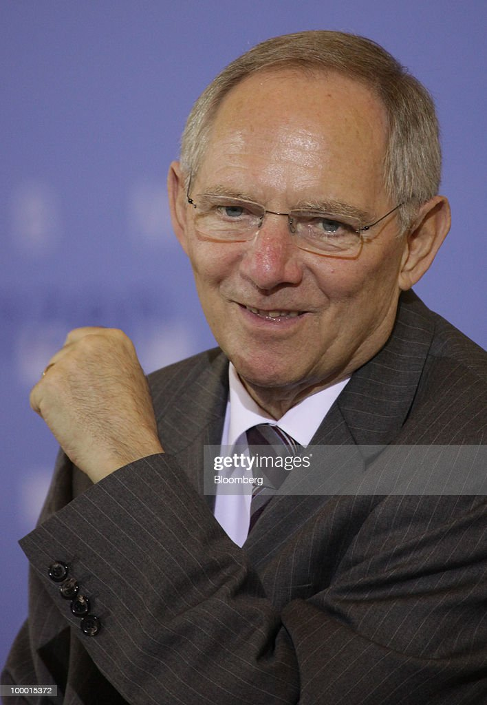 Wolfgang Schaeuble, Germany's finance minister, pauses at the International Financial Market Regulation conference, in Berlin, Germany, on Thursday, May 20, 2010. German Chancellor Angela Merkel reached out to financial markets ahead of tomorrow's vote on Germany's share of a $1 trillion euro bailout, saying she needs 'honest' advice as her government presses for tougher global regulation. Photographer: Michele Tantussi/Bloomberg via Getty Images