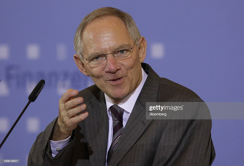 Wolfgang Schaeuble, Germany's finance minister, speaks at the International Financial Market Regulation conference, in Berlin, Germany, on Thursday, May 20, 2010. German Chancellor Angela Merkel reached out to financial markets ahead of tomorrow's vote on Germany's share of a $1 trillion euro bailout, saying she needs 'honest' advice as her government presses for tougher global regulation. Photographer: Michele Tantussi/Bloomberg via Getty Images