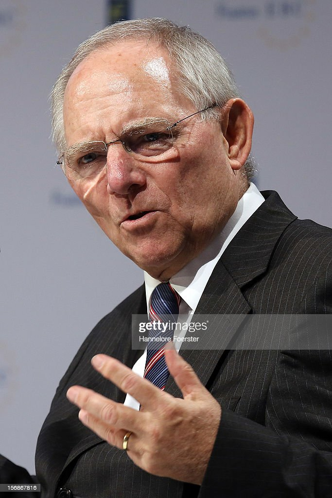 Wolfgang Schaeuble, Minister of finance of Germany, attends the European Banking Congress on November 23, 2012 in Frankfurt, Germany. Bankers from across Europe are meeting as Europe continues to struggle with weak economies in the Eurozone and governments remain locked in disagreement over the European Union 2013 budget.