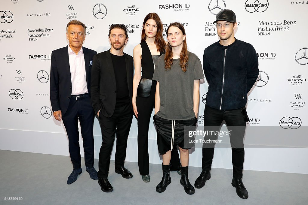 Wolfgang Schattling, David Koma, deisgner, Lucie Von Alten Eliot Paulina Sumner and Swedish director Christian Larson attend the Mercedes-Benz Fashion Talk during the Mercedes-Benz Fashion Week Berlin Spring/Summer 2017 at Erika Hess Eisstadion on June 30, 2016 in Berlin, Germany.