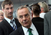 Wolfgang Schneiderhan former chief of staff of the Bundeswehr the German armed forces leaves the first parliamentary inquiry witness hearing into the...