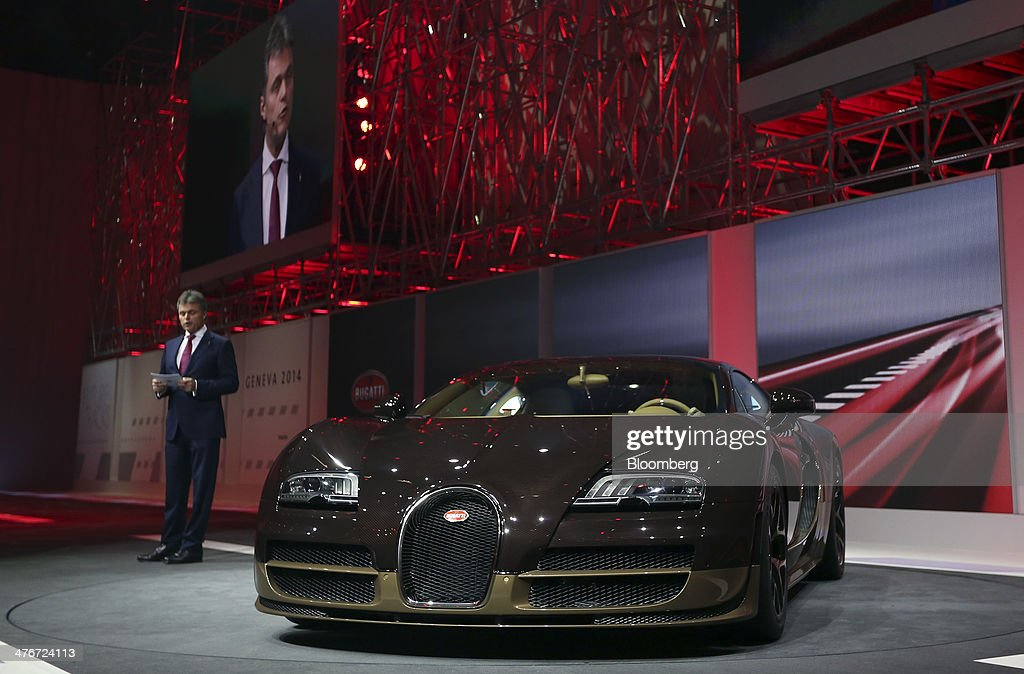 Wolfgang Schreiber, chief executive officer of Bentley Motors Ltd., speaks during the launch of the Bugatti Veyron Rembrandt automobile, produced by Volkswagen AG, during a news conference ahead of the opening day of the 84th Geneva International Motor Show in Geneva, Switzerland, on Monday, March 3, 2014. The International Geneva Motor Show will run from Mar. 4, and showcase the latest models from the world's top automakers. Photographer: Chris Ratcliffe/Bloomberg via Getty Images
