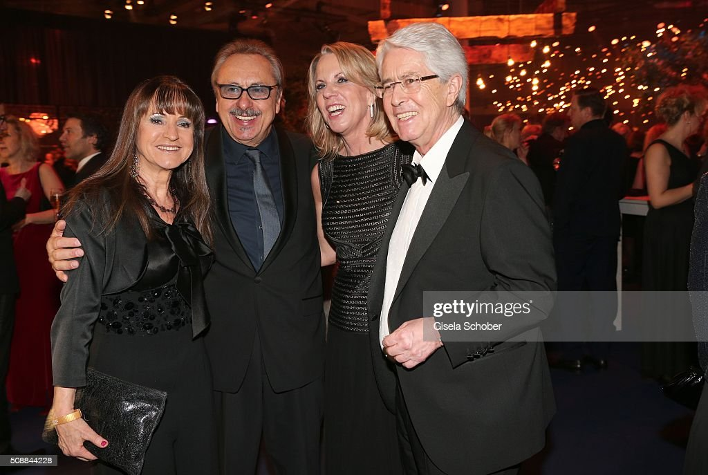Wolfgang Stumph and his wife Christine Stumph, Frank Elstner and his wife Britta Elstner during the after show party of the Goldene Kamera 2016 on February 6, 2016 in Hamburg, Germany.