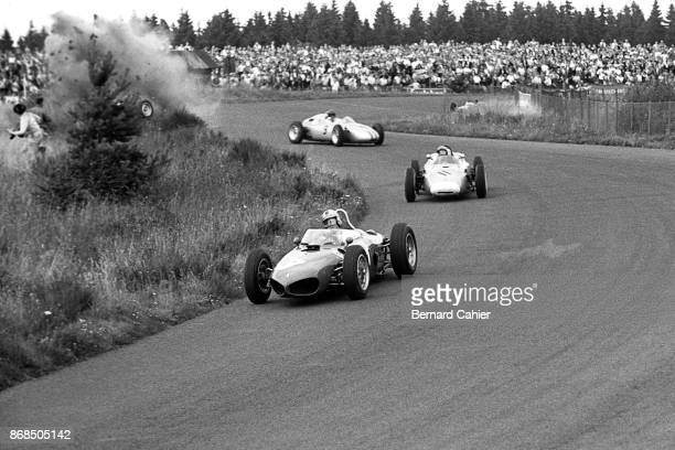 Wolfgang von Trips Hans Herrmann Dan Gurney Graham Hill Ferrari 156 Sharknose Grand Prix of Germany Nurburgring 06 August 1961 Graham Hill crashes...