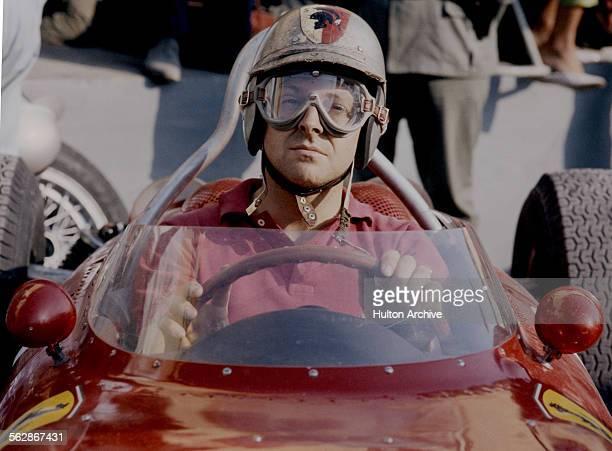 Wolfgang von Trips of Germany driver of the Scuderia Ferrari Ferrari 156 Ferrari V6 awaits the start of the Italian Grand Prix on 10 September 1961...