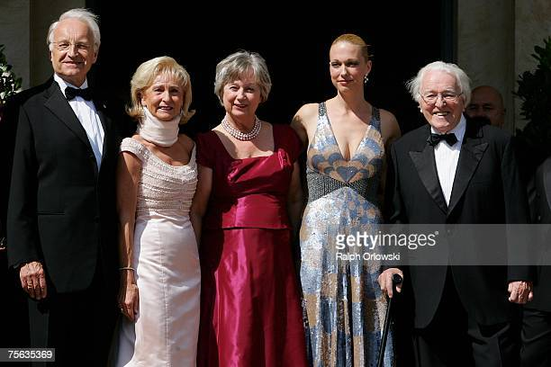 Wolfgang Wagner grandson of the German composer Richard Wagner and director of the Bayreuth Festival poses with his wife Gudrun his daughter...
