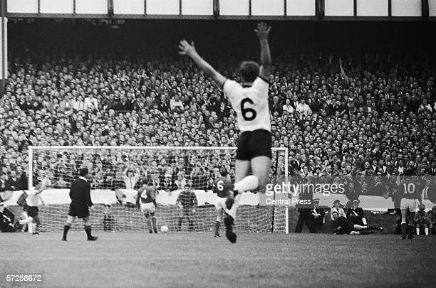 Wolfgang Weber the West German No6 leaps into the air as Helmut Haller scores the first goal in the World Cup semi final against Russia at Goodison...