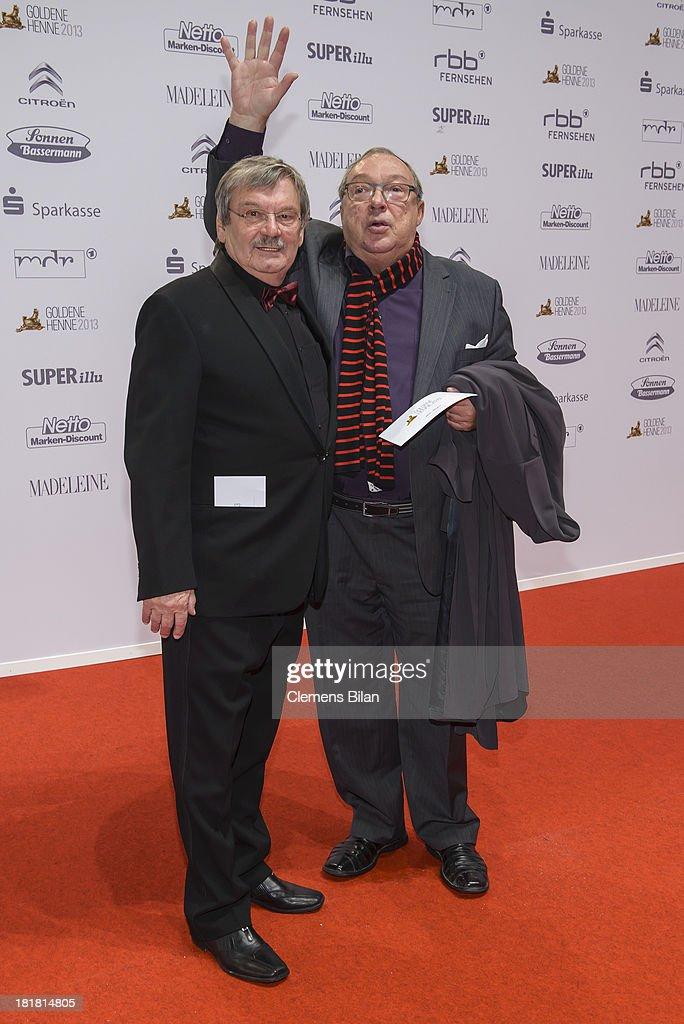 Wolfgang Winkler (L) and Jaecki Schwarz arrive for the Goldene Henne 2013 award at Stage Theater on September 25, 2013 in Berlin, Germany.