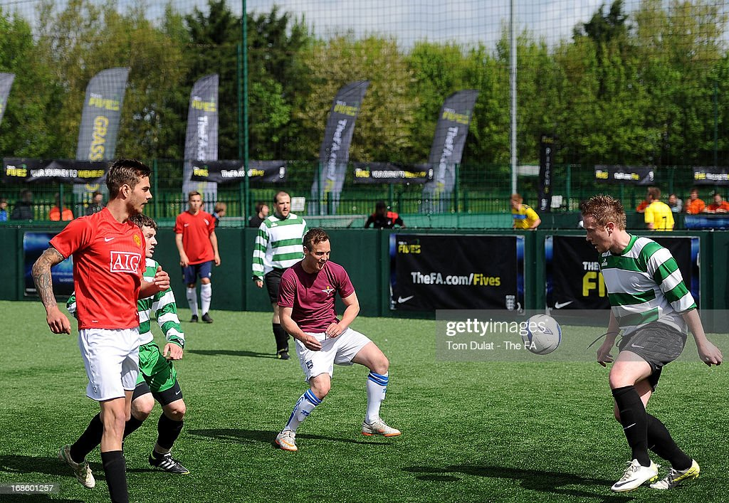 Wolfpack and The Whipping Boys in action during the FA Fives at Power League Community on May 12, 2013 in Basingstoke, England.