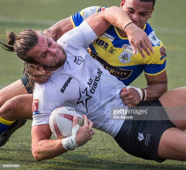 Wolfpacks Liam Kay is brought to the ground by Doncaster's Makali Aizue The Toronto Wolfpack 2nd half action as they host the final home game of the...