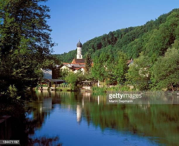 Wolfratshausen with the Loisach River, Upper Bavaria, Bavaria, Germany, Europe