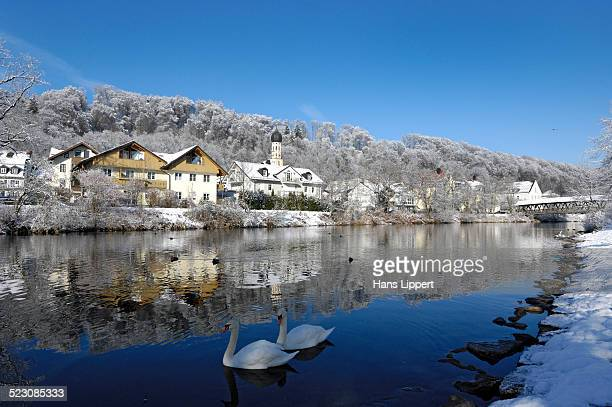 Wolfratshausen with the Parish Church of St. Andrew, Loisach, Upper Bavaria, Bavaria, Germany, Europe, PublicGround