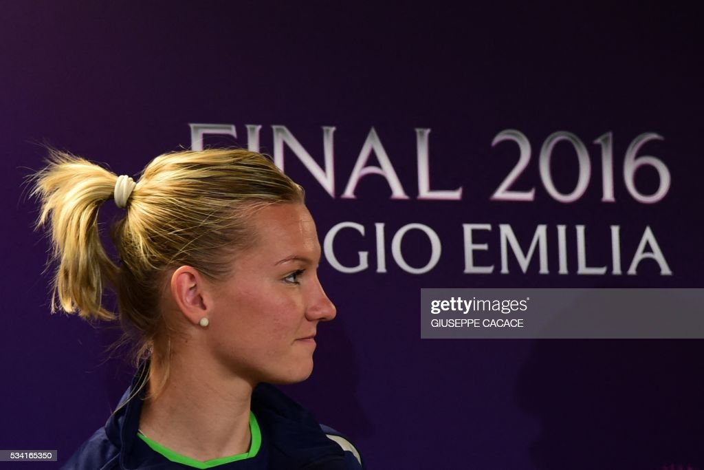 VFL Wolfsburg forward Alexandra Popp from Germany attends a press conference on the eve of the UEFA Women's Champions League Final match against OL Lyon on May 25, 2016 at the Stadio Citta del Tricolore in Reggio Emilia. / AFP / GIUSEPPE